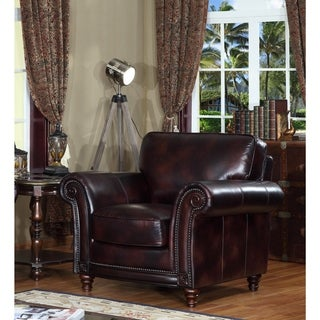 Century Brown Leather Cowhide Armchair