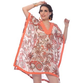 La Leela Caribbean Bikini SHEER CHIFFON Swimsuit WOMEN PLUS Cover up Orange TOP