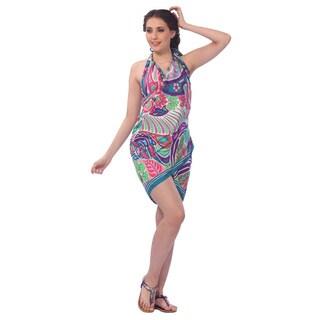 La Leela Super Soft Likre Modern Paisley Bikini Sarong Cover up 72X42 Inch Pink