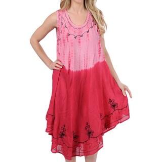 La Leela RAYON Short Beach Dress Coverup HAND Tie Dye Designer Swimwear Pink