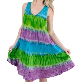 La Leela RAYON HAND Tie Dye Embroidered Designer Casual Short Beach Dress Green
