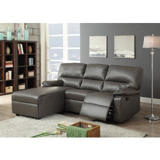 Artha Grey Bonded Leather Match Sectional Sofa