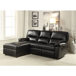 Artha Black Bonded Leather Match Sectional Sofa