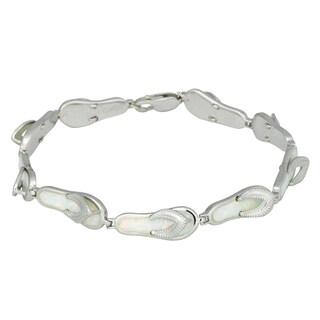 La Preciosa Sterling Silver Created White Opal Flip-Flop Link Bracelet