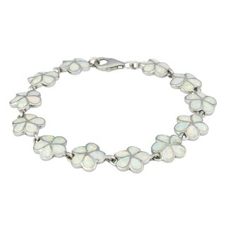 La Preciosa Sterling Silver Created White Opal Flower Link Bracelet
