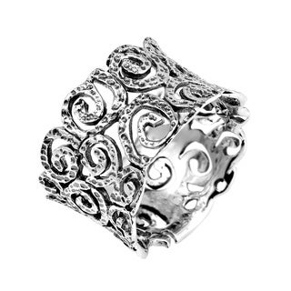 Textured Filigree Swirls Sterling Silver Wide Ring (Thailand)