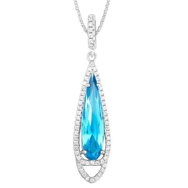 La Preciosa Sterling Silver Micropave Blue and White Cucbic Zirconia Teardrop Necklace