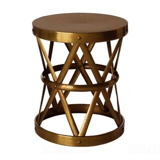 Hammered Drum Table / Stool Brass Antique Medium