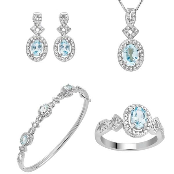 Divina Silver Over Brass 1/30 Carat TDW Diamond and Topaz 4-piece set
