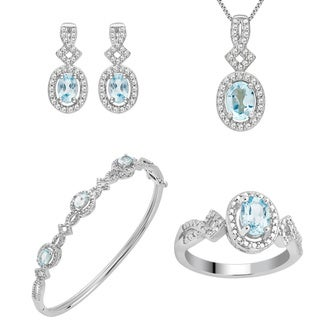 Divina Silver Over Brass 1/30 Carat TDW Diamond and Topaz 4-piece set