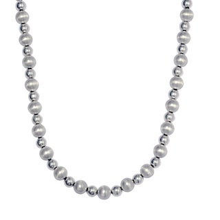 Sterling Silver Italian Satin and Polished Bead Necklace