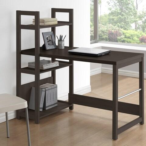 CorLiving Folio Black Espresso Bookshelf Styled Desk