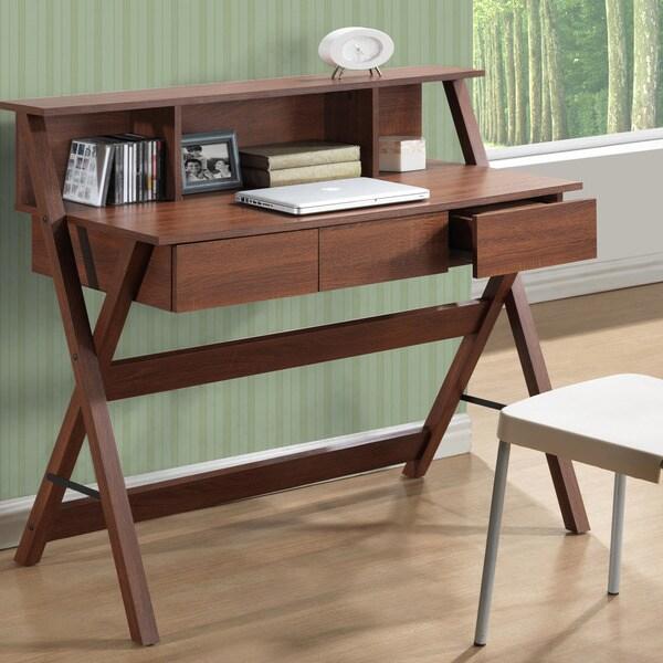 Shop CorLiving Folio Three-drawer Desk with Low Profile Hutch - Free ...