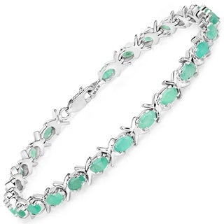 Olivia Leone 5.88 Carat Genuine Emerald .925 Sterling Silver Bracelet