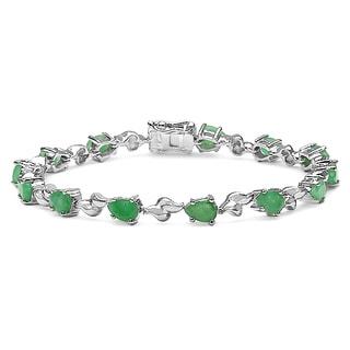 Malaika 5.20 Carat Genuine Emerald .925 Sterling Silver Bracelet