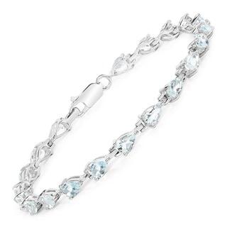 Malaika 7.00 Carat Genuine Aquamarine .925 Sterling Silver Bracelet