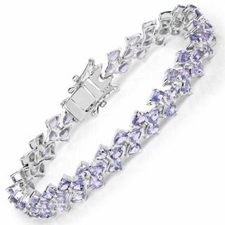 Malaika 12.04 Carat Genuine Tanzanite .925 Sterling Silver Bracelet
