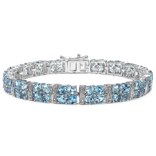 Malaika 15.97 Carat Genuine Blue Topaz and White Topaz .925 Sterling Silver Bracelet
