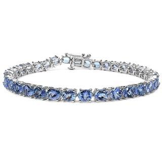 Malaika 11.88 Carat Genuine Tanzanite .925 Sterling Silver Bracelet