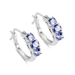 Malaika 1.58 Carat Genuine Tanzanite .925 Sterling Silver Earrings