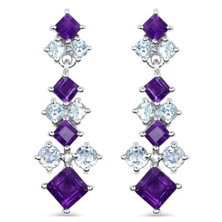 Malaika 4.94 Carat Genuine Amethyst and Blue Topaz .925 Sterling Silver Earrings