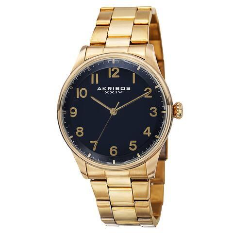 Akribos XXIV Men's Quartz Stainless Steel Gold-Tone Bracelet Watch