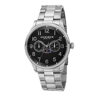 Akribos XXIV Men S Swiss Quartz Multifunction Stainless Steel Silver Tone Bracelet Watch