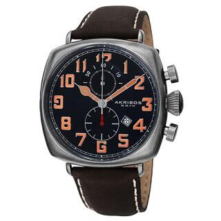 Akribos XXIV Men's Quartz Chronograph Date Display Leather Blue Strap Watch