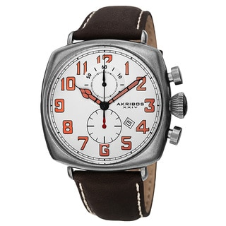 Akribos XXIV Men's Quartz Chronograph Date Display Leather White Strap Watch