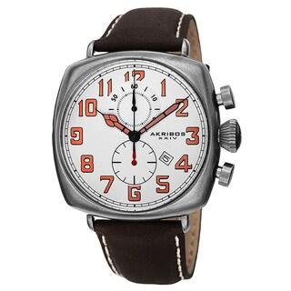 Akribos XXIV Men's Quartz Chronograph Date Display Leather White Strap Watch