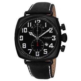 Akribos XXIV Men's Quartz Chronograph Date Display Leather Black Strap Watch