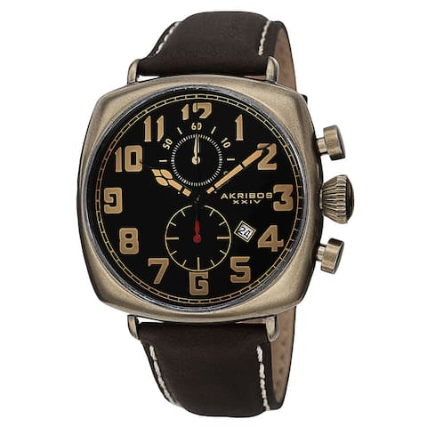 Akribos XXIV Men's Quartz Chronograph Date Display Leather Gold-Tone Strap Watch
