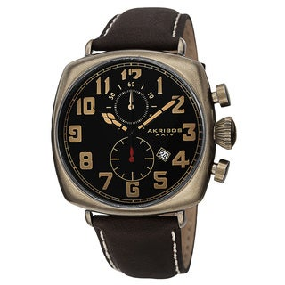 Akribos XXIV Men's Quartz Chronograph Date Display Leather Gold-Tone Strap Watch