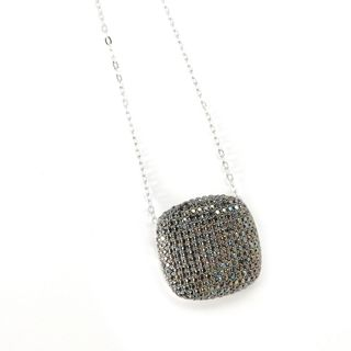 Sterling Silver Pave Spinel Cushion Necklace