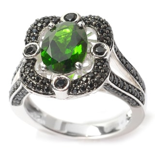 Sterling Silver Oval Chrome Diopside Black Spinel Ring