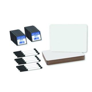 Flipside 9 x 12 x 0.25-inch Dry Erase Board, Pen and Eraser Set (Set of 12)