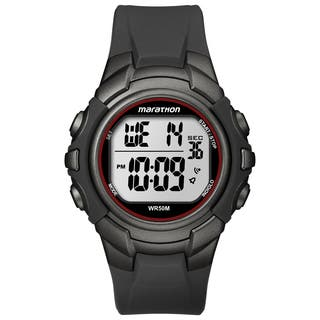 Timex T5K642M6 Men's Marathon Digital Full-size Gunmetal Grey/ Red Watch|https://ak1.ostkcdn.com/images/products/9941294/P17096404.jpg?impolicy=medium