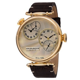 Akribos XXIV Men's Quartz Dual Time Leather Gold-Tone Strap Watch