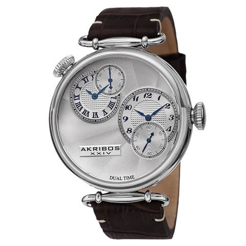 Akribos XXIV Men's Quartz Dual Time Leather Silver-Tone Strap Watch
