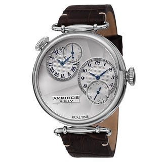 Akribos XXIV Men's Quartz Dual Time Leather Silver-Tone Strap Watch