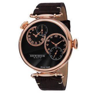 Akribos XXIV Men's Quartz Dual Time Leather Rose-Tone Strap Watch