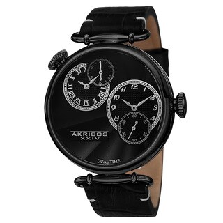 Akribos XXIV Men's Quartz Dual Time Leather Black Strap Watch