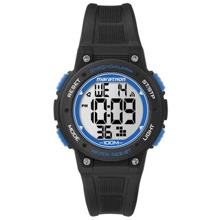 Timex Marathon Digital Mid-size Black/ Blue Resin Watch