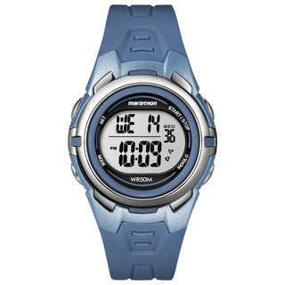 Timex T5K362M6 Marathon Digital Mid-size Blue/ Silvertone Resin Watch