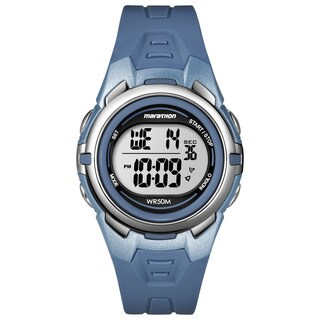 Timex Men's T5K362M6 Marathon Digital Mid-size Blue/ Silvertone Resin Watch