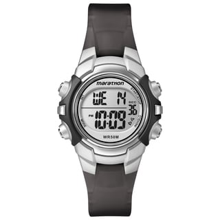 Timex T5K805M6 Unisex Marathon Digital Silvertone Black Strap Watch