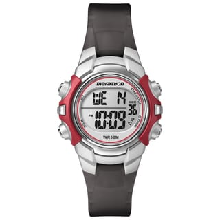 Timex T5K807M6 Unisex Marathon Digital Mid-Size Red/ Silver-Tone/ Black Watch