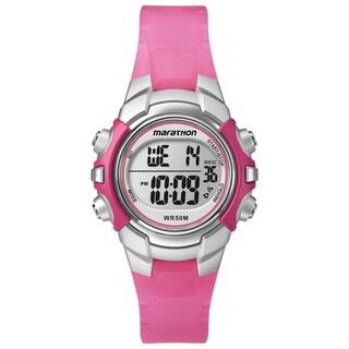 Timex T5K808M6 Unisex Marathon Digital Mid-size Pink/ Silvertone Watch