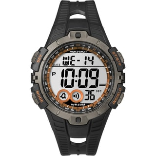 Timex T5K801M6 Men's Marathon Digital Full-size Black/ Silvertone/ Orange Watch