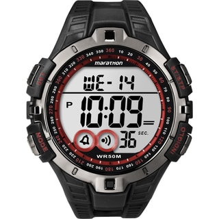 Timex T5K423M6 Men's Marathon Digital Full-size Black/ Gunmetal Grey/ Red Watch